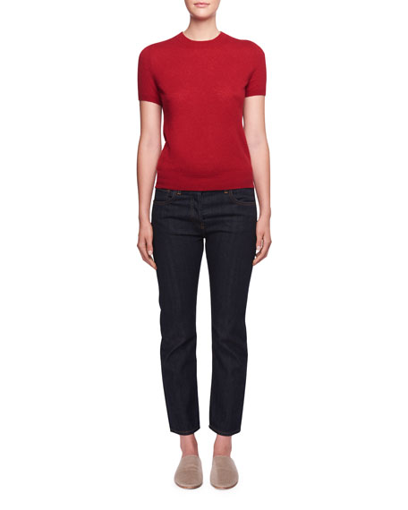 Tati Crewneck Short-Sleeve Cashmere Top