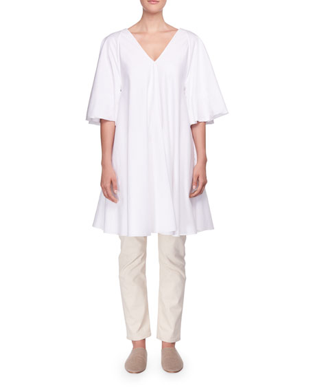Lianne V-Neck Trapeze Poplin Short Dress