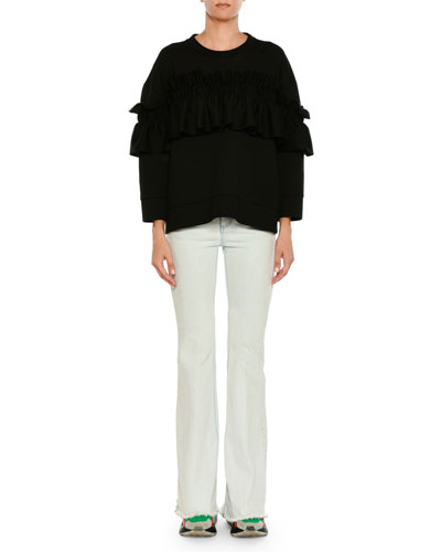 Ruffle-Front Crewneck Sweater and Matching Items