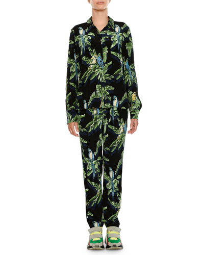 Tropical-Print Skinny Pants and Matching Items