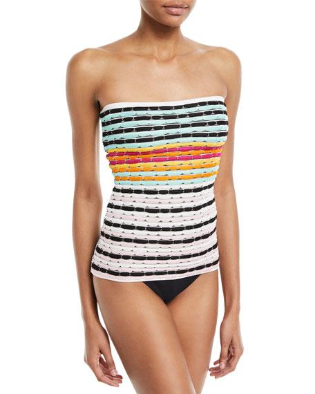 Strapless Striped Knit Swim Top