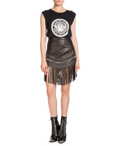 Fringed Leather Chain-Trim Skirt and Matching Items