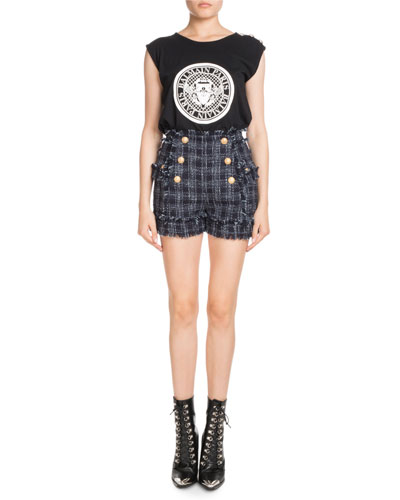 High-Waist Tweed Button-Front Shorts and Matching Items