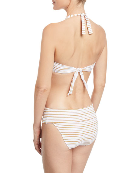 Brussels Halter Metallic-Striped Luxe Swim Top