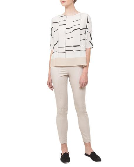 Broken Stripes Half-Sleeve Tunic Top
