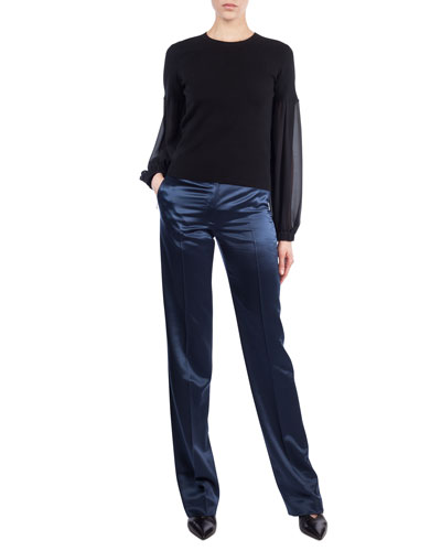 Round-Neck Chiffon-Sleeve Knit Cashmere-Blend Blouse and Matching Items