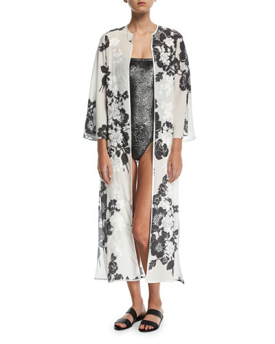 Rose-Embroidered Silk Open Caftan Coverup and Matching Items