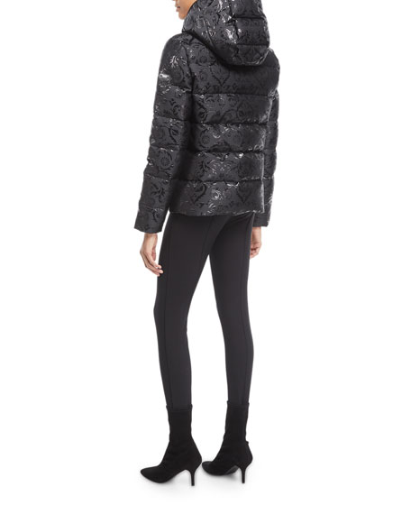 Hooded Brocade Puffer Coat