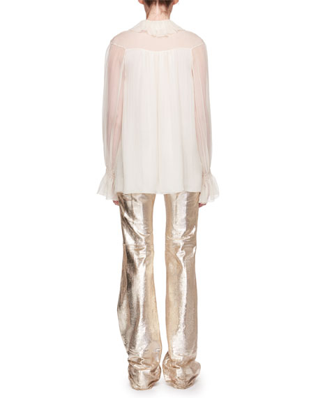 Asymmetric Ruffled Silk Blouse