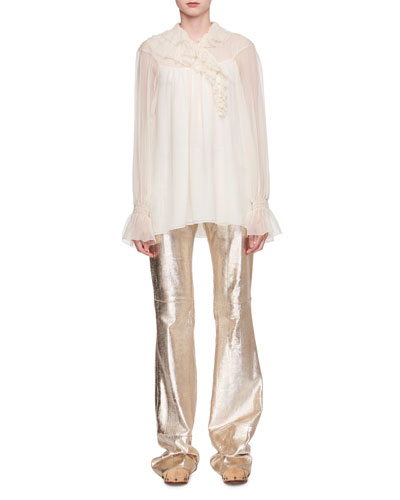 Asymmetric Ruffled Silk Blouse and Matching Items