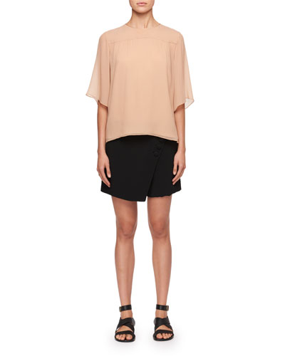 Half-Sleeve Crewneck Blouse and Matching Items
