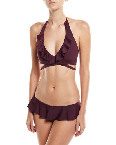 Ruffle Wrap Solid Bikini Swim Top and Matching Items