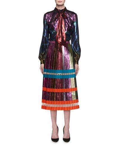 Nighthawk Pleated Metallic Colorblock Midi Skirt and Matching Items