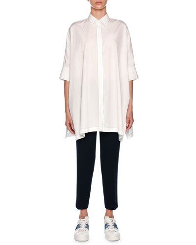 Popeline Ajour Poncho Shirt  and Matching Items
