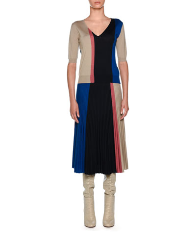 Knitwear Wool-Blend Colorblock Midi Skirt, Dark Blue  and Matching Items