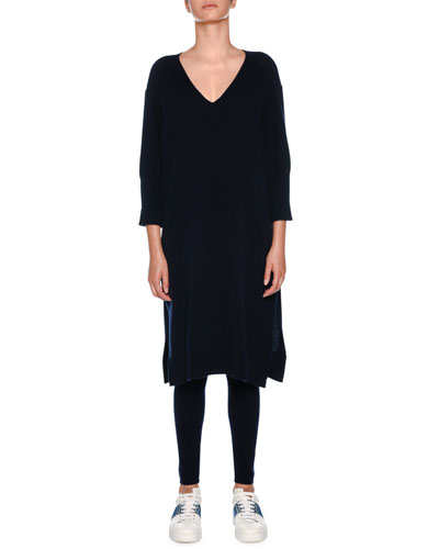 Cashmere Loungewear Leggings, Dark Blue  and Matching Items