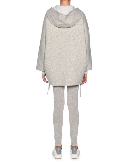 Zip-Front Cashmere Hoodie Cape, Gray