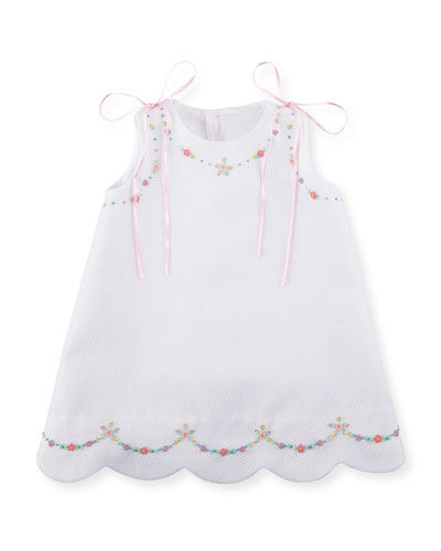 Pique Dress w/ Floral Embroidery, Size 3-18 Months  and Matching Items