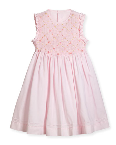Sleeveless Smock Embroidered Dress, Pink, Size 2-4T  and Matching Items