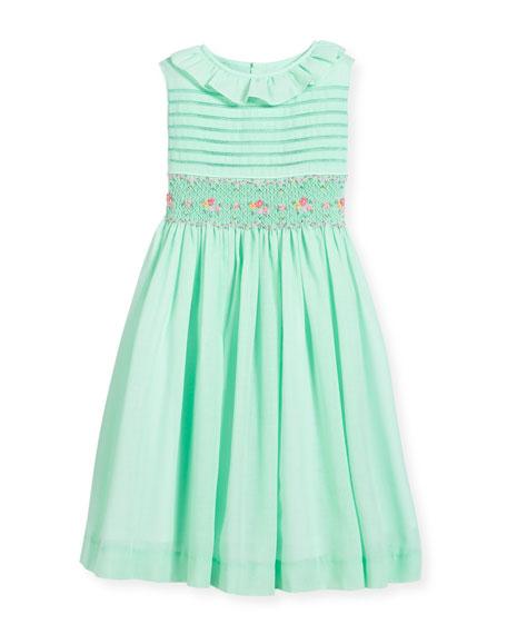 Smocked Ruffle-Collar Dress, Turquoise, Size 4-6X
