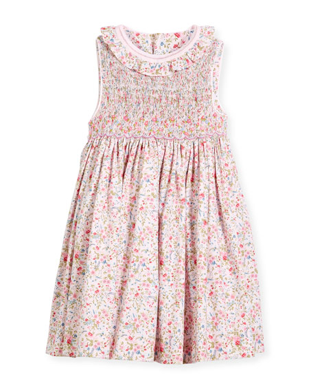 Floral Sleeveless Smock Dress, Size 2-4T