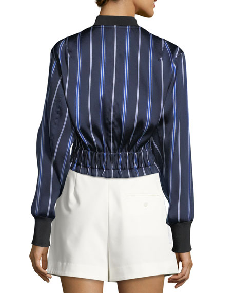 Zip-Front Striped Satin Bomber Jacket