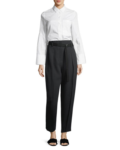 High-Waist Straight-Leg Pant w/ Leg Dart and Matching Items