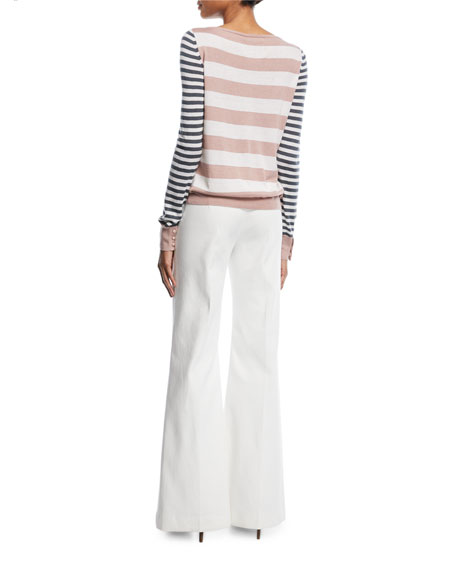 Mixed-Stripe Boat-Neck Sweater