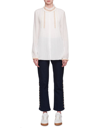 Beaded Ruffle-Neck Voile Blouse and Matching Items