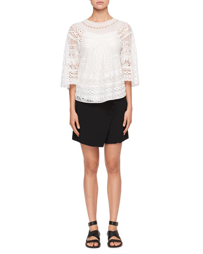 Diagonal-Front Crepe Mini Short-Skirt and Matching Items