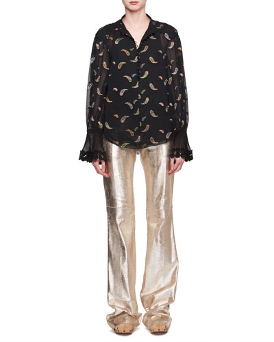 Paisley Metallic Jacquard Long-Sleeve Silk Blouse and Matching Items