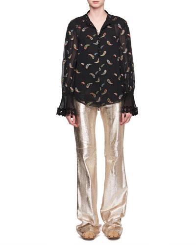 Paisley Metallic Jacquard Long-Sleeve Silk Blouse and Matching Items