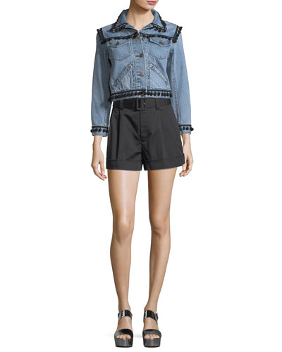 Belted High-Waist Shorts and Matching Items