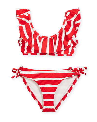 Striped Ruffle Pinafore Two-Piece Swimsuit, Size 4-7  and Matching Items