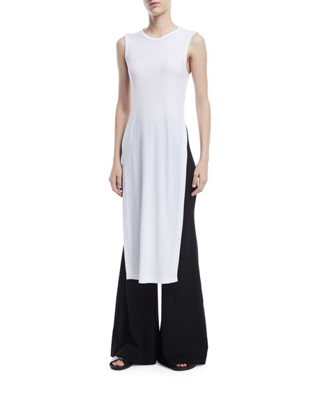 Split-Side Ribbed Jersey Maxi T-Shirt