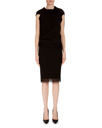Fringed Wool Pencil Skirt and Matching Items