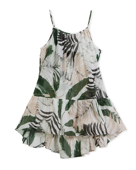 Palm Tree-Print High-Low Coverup Dress, Size 4-7