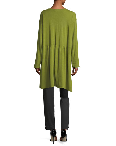 A-Line Bateau-Neck Cashmere Tunic with Pleated Panels
