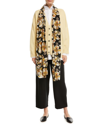 Floral-Print Silk Scarf and Matching Items
