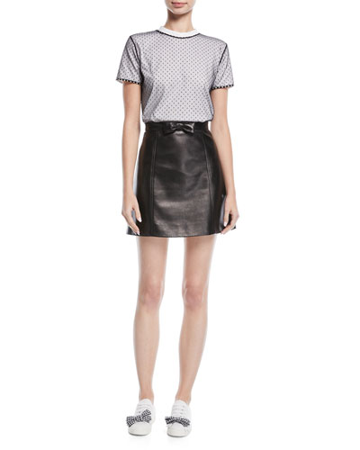 Bow-Front Leather Midi Skirt and Matching Items