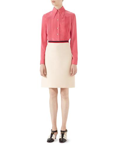Pintucked Silk Crepe Shirt and Matching Items