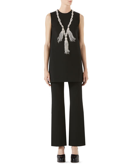 Sleeveless Stretch-Jersey Dress w/ Crystal Tassels