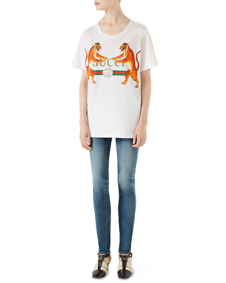 Gucci-Logo with Tigers T-Shirt