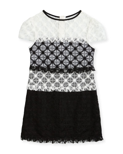 Gabrielle Short-Sleeve Colorblock Lace Dress, Size 4-7  and Matching Items