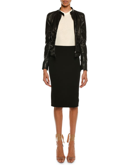 Zip-Front Ruched Napa Leather Biker Jacket