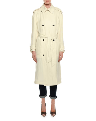 Double-Breasted Linen-Blend Trenchcoat and Matching Items