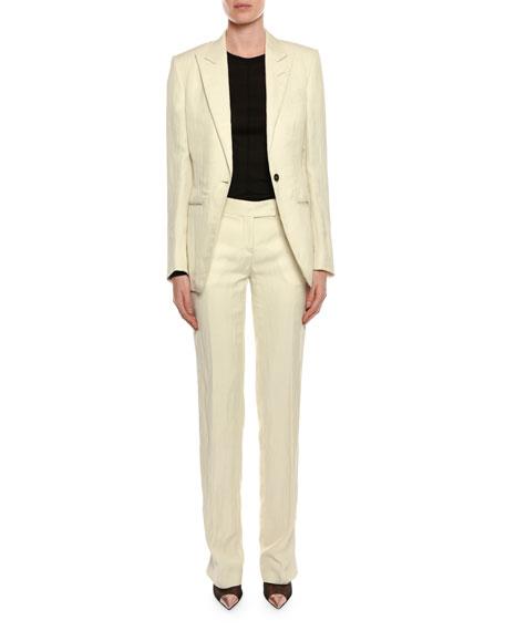 Viscose/Linen One-Button Jacket