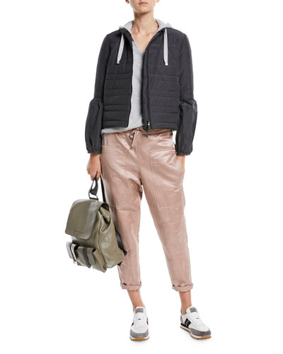 Shiny Linen-Blend Drawstring Utility Pants  and Matching Items