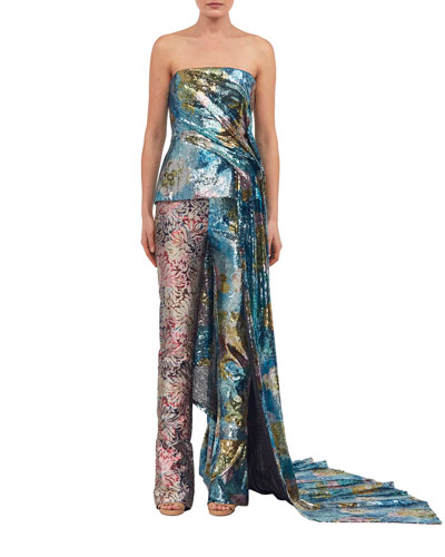 Sequined Mixed-Pattern Wide-Leg Pants and Matching Items