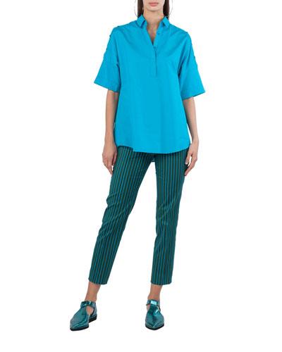 Button-Trim Cotton Kimono Blouse and Matching Items